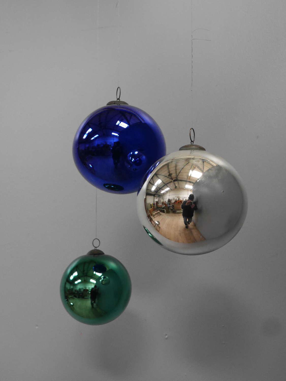 Trio Of Mercury Glass Witches Balls