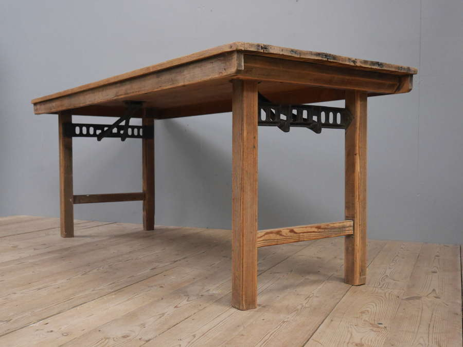 Pine & Cast Iron Trestle Table