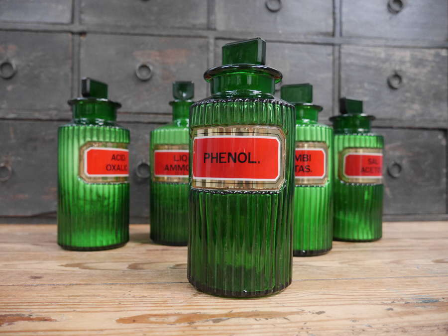 Green Gilt Glass Apothecary Jars