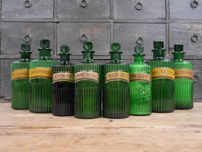 Green Apothecary Bottles