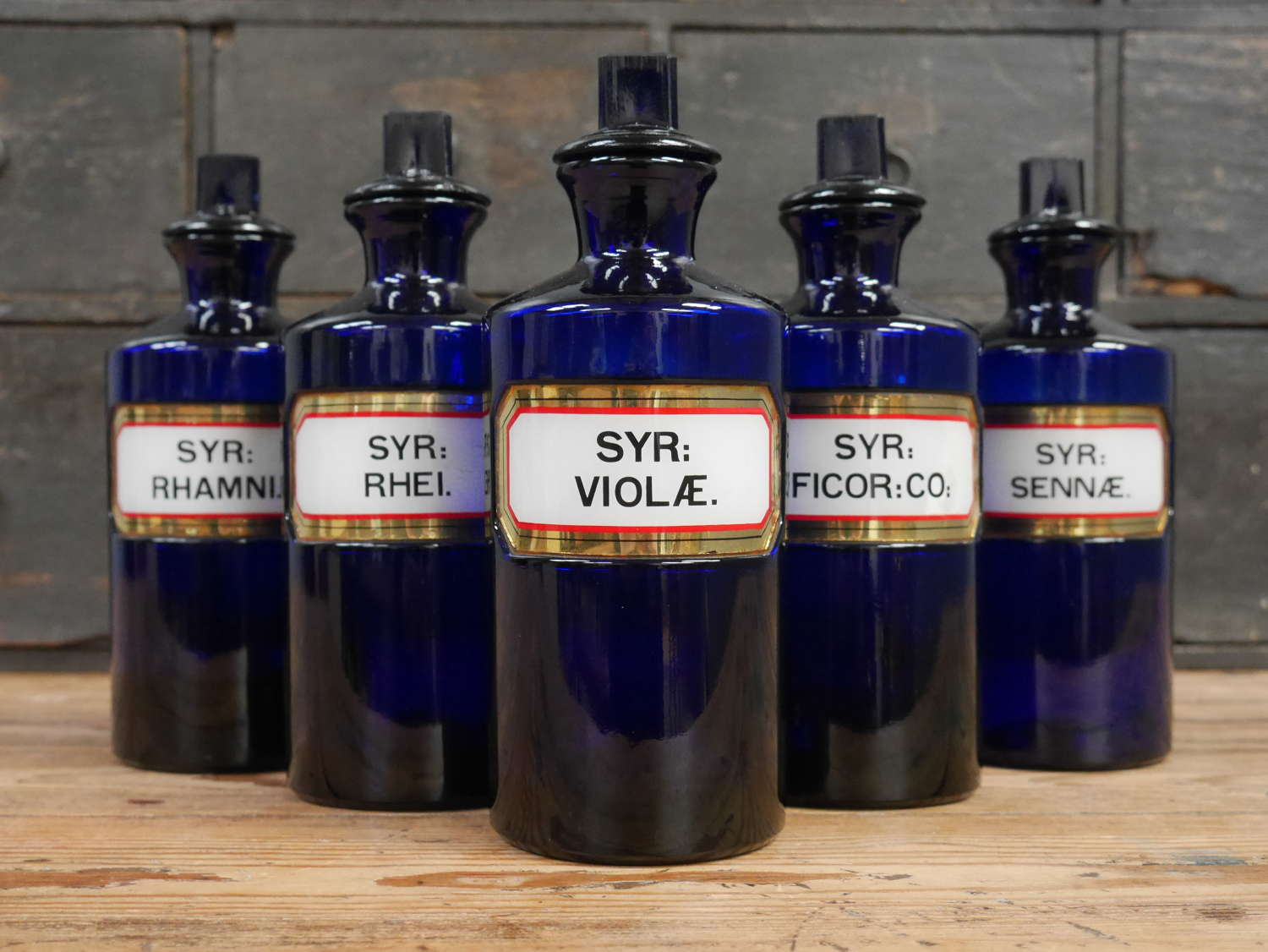 Blue Apothecary Syrup Bottles