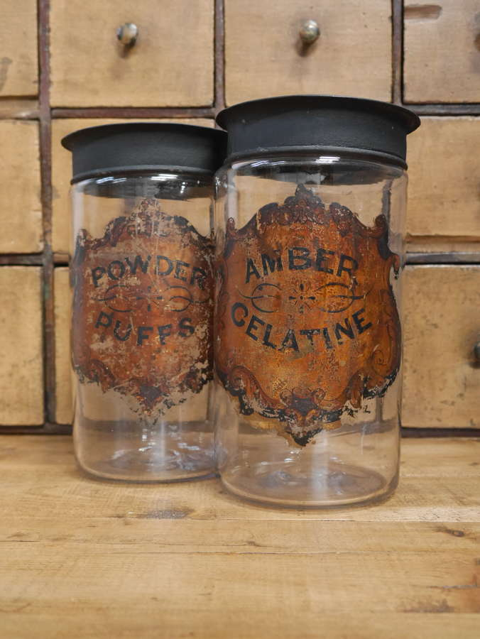 Pair of Large Painted Apothecary Jars