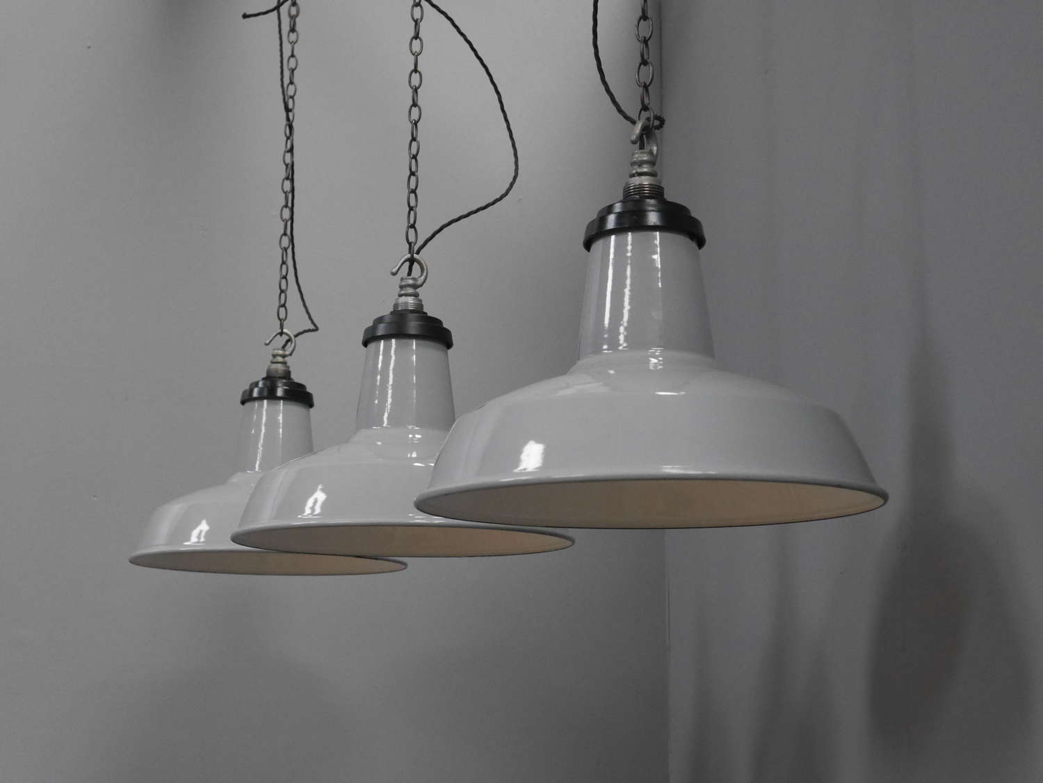 Grey Enamel Pendant Lights