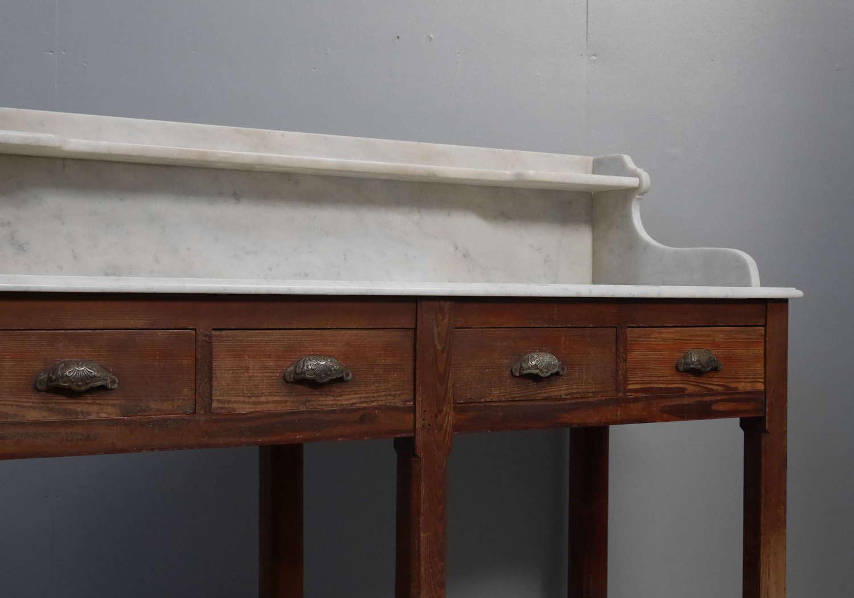 Pine & Marble Work Table c1900