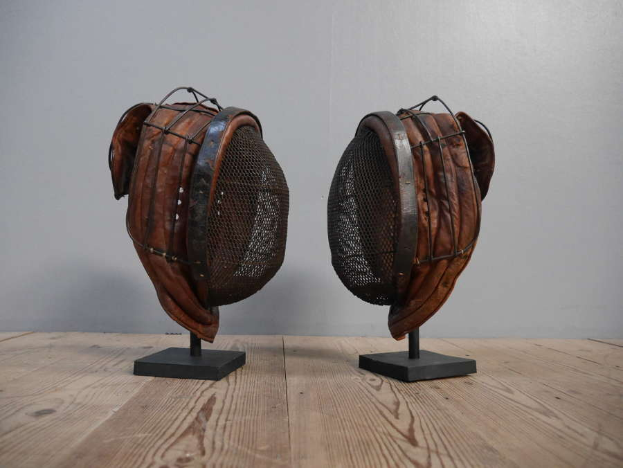 Pair of Leather Fencing Masks