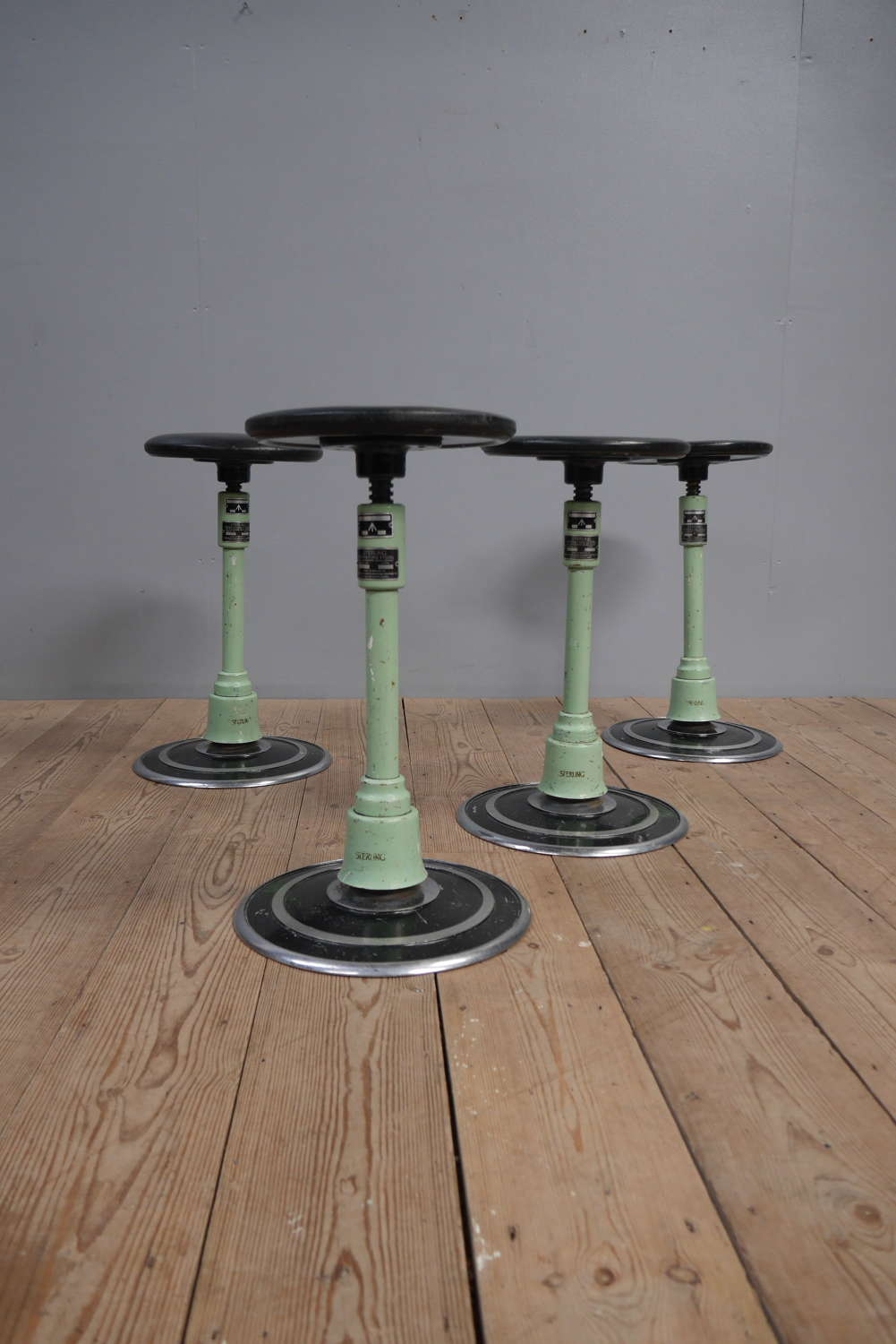 Four Articulated Operating Stools