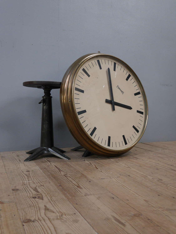 Large Brass Ferranti Industrial Clock