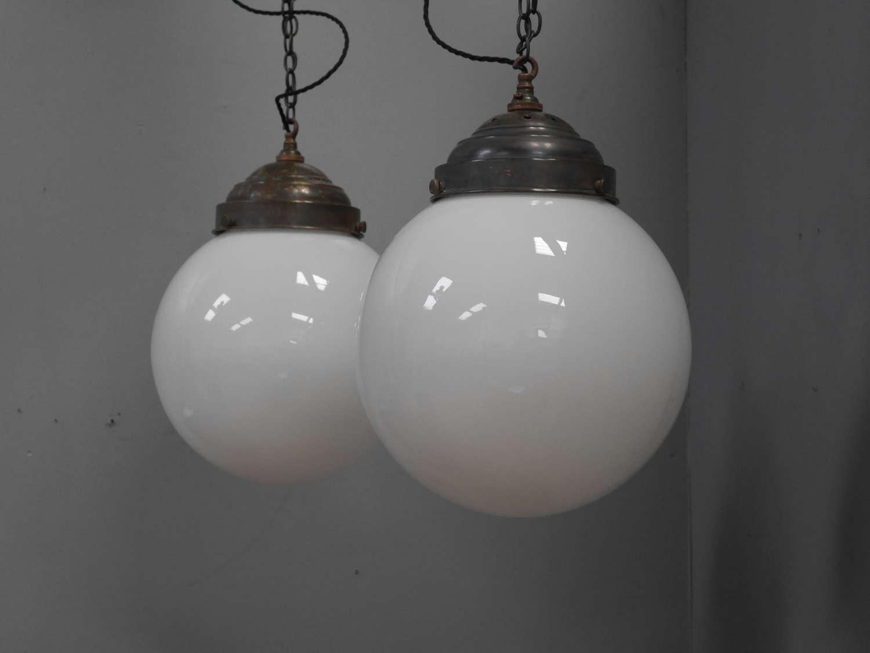 Large Opaline Globe Lights